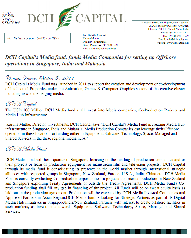 DCH Capital's Media fund, funds Media Companies for setting up
